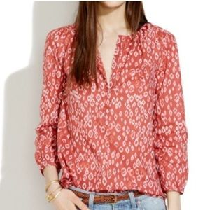 Madewell Red Ikat Blouse